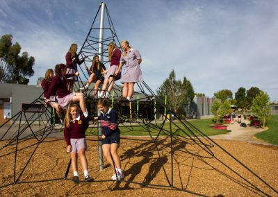 Active play area featuring climbing frame, Trinity College, Colac